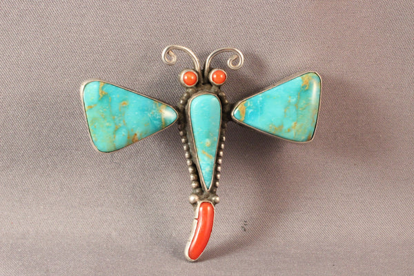Large Turquoise and Coral Dragonfly Pendant/Pin