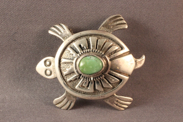 Sterling Silver Turtle Pendant/Pin With Green Turquoise