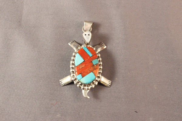 Zuni Turtle Pendant With Mosaic Inlay