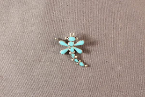 Sleeping Beauty Turquoise Dragonfly Pendant/Pin