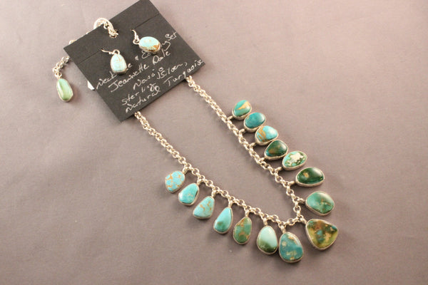 Natural Royston Turquoise Necklace With 15 Teardrop Stones
