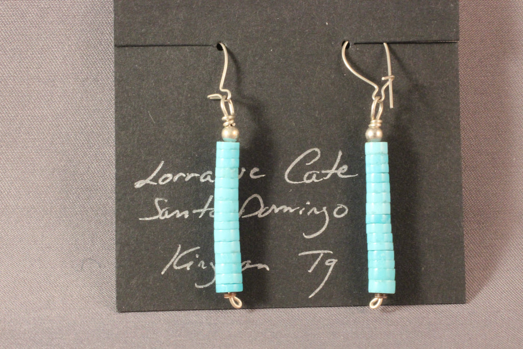 Kingman Turquoise Handcut Heishi Earrings