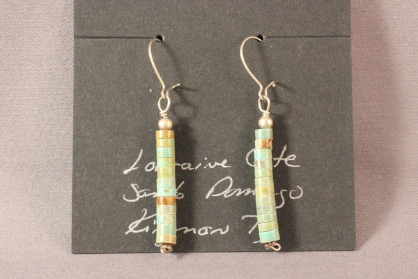 Hand Cut Kingman Green Turquoise Heishi Earrings