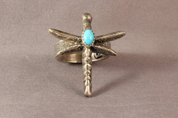 Gary Custer Tufa Dragonfly Ring With Sleeping Beauty Stone