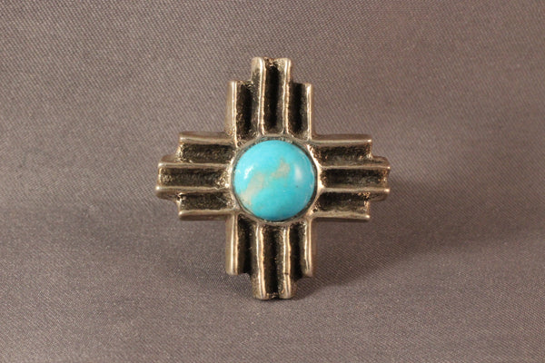 Gary Custer Tufa Cast Zia Sun Ring With Turquoise