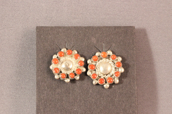 Zuni Round Red Coral Earrings