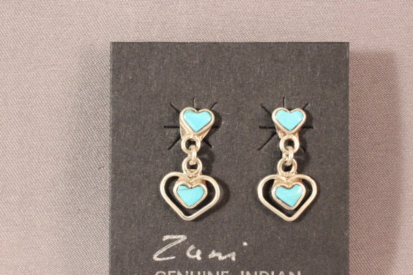 Zuni Drop Heart Earrings