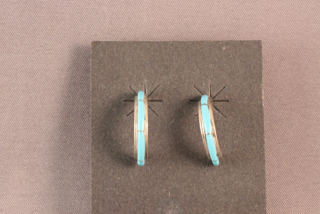 Small Zuni Half Hoop Turquoise Earrings
