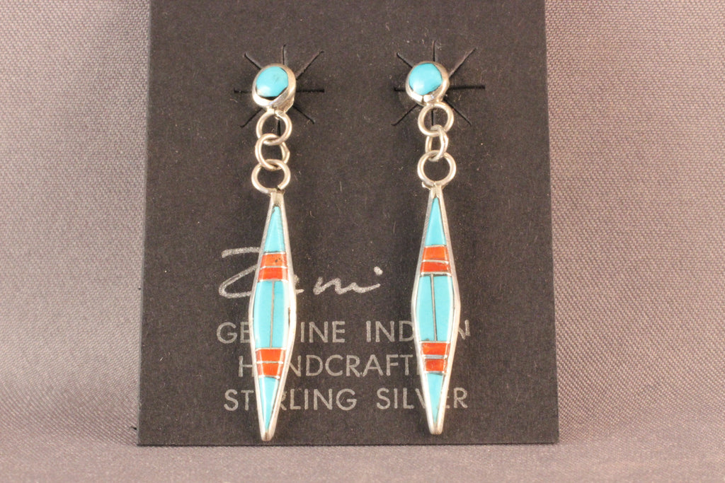 Zuni Turquoise And Coral Pointed Drop Earrings