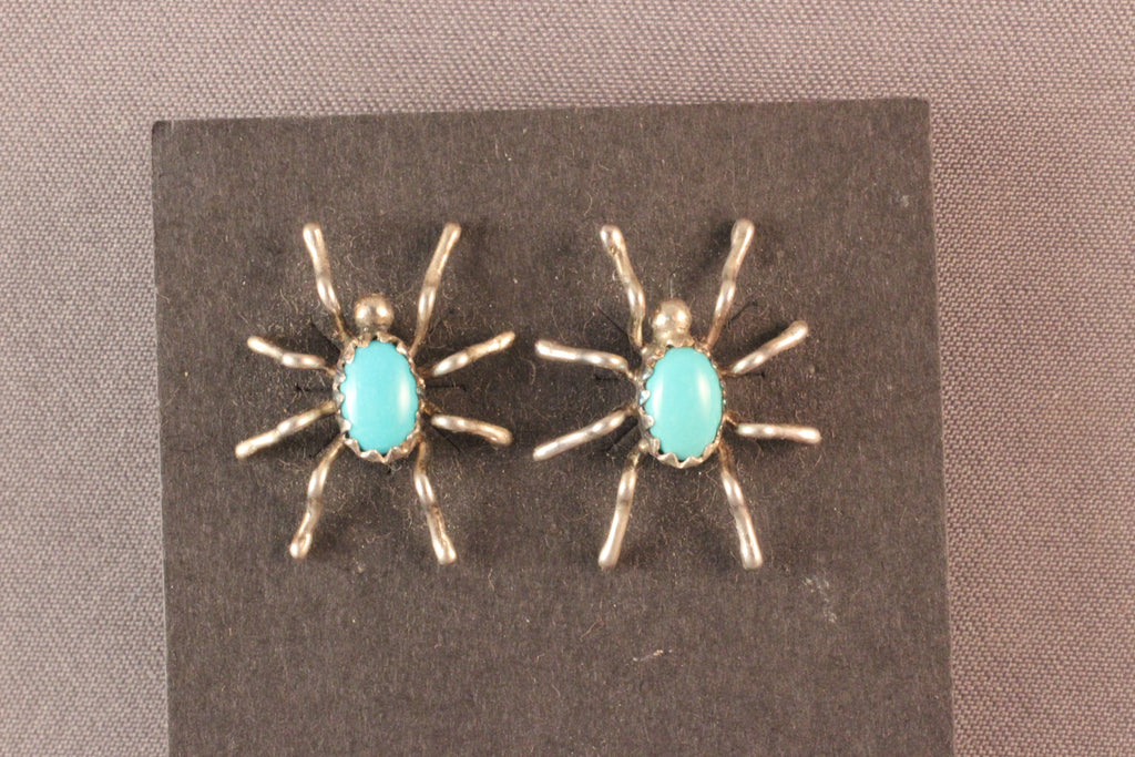 Zuni Sterling Silver And Turquoise Spider