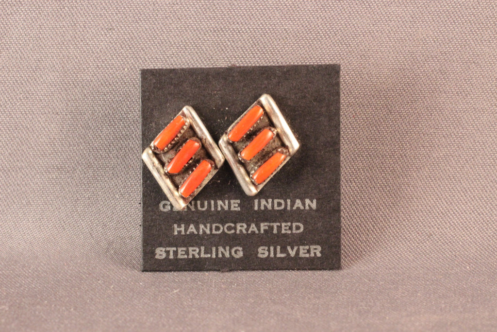 Zuni Diagonal Red Coral And Sterling Silver Earrings