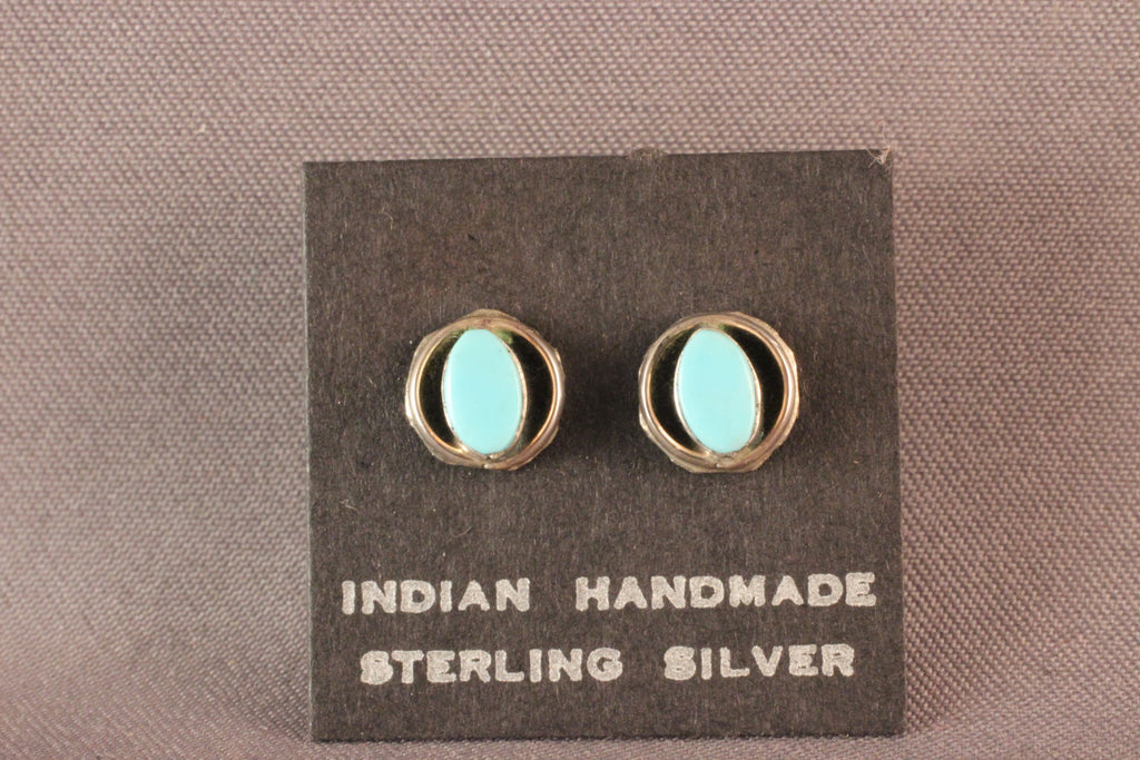 Zuni Oval Turquoise Post Earrings