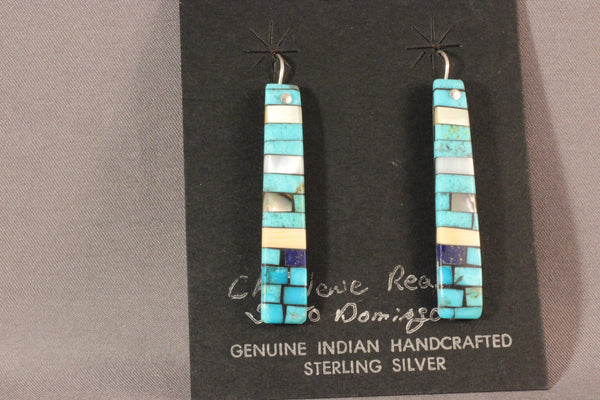 Charlene Reano Multi Stone Mosaic Long Earrings