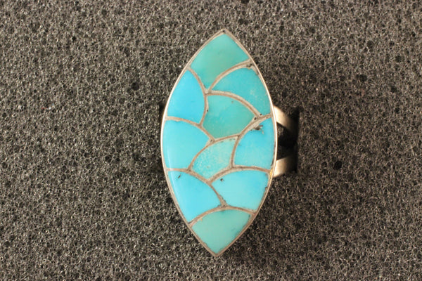 Zuni Sterling And Turquoise Channel Inlay Ring