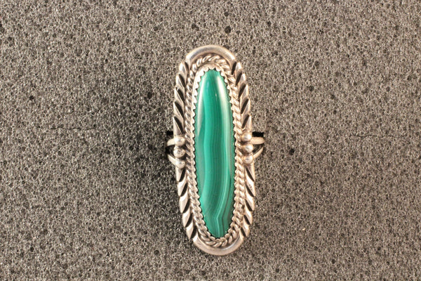 Navajo Long Oval Malachite Ring