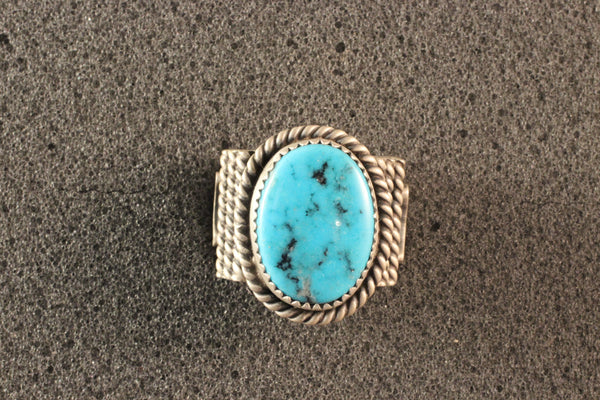 Large Oval Kingman Turquoise Ring