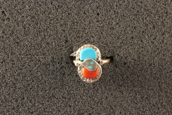 Effie Calabaza Coral And Turquoise Snake Ring