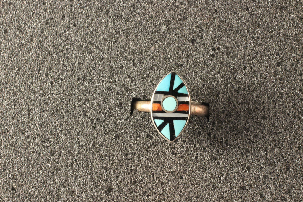 Zuni Multi Stone Channel Inlay Marquis Ring