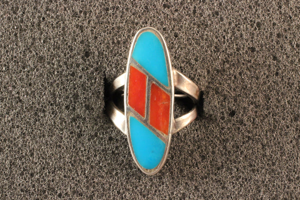 Long Oval Turquoise And Apple Coral Ring