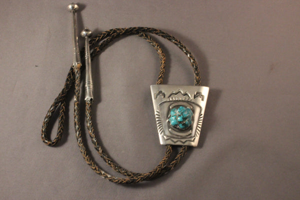 Vintage Navajo Bolo Tie With Kingman Turquoise Nugget