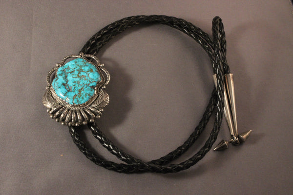 Very Large Morenci Turquoise Bolo Tie