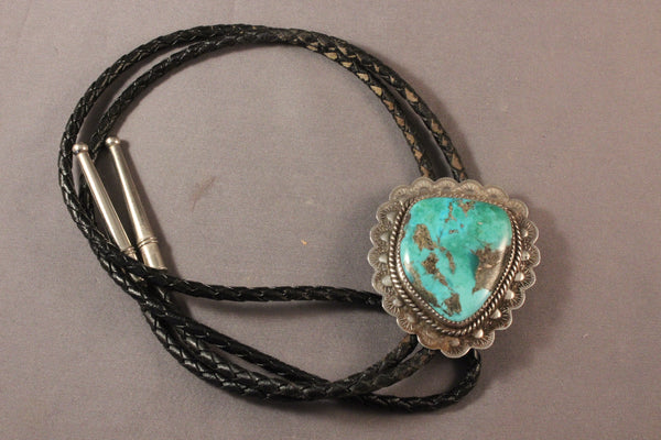 Large Navajo Turquoise Heart Bolo Tie