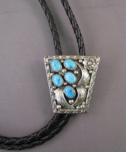 Sterling Leaf Bolo With 5 Turquoise Stones