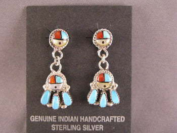 Zuni Sunface Dangle Earrings