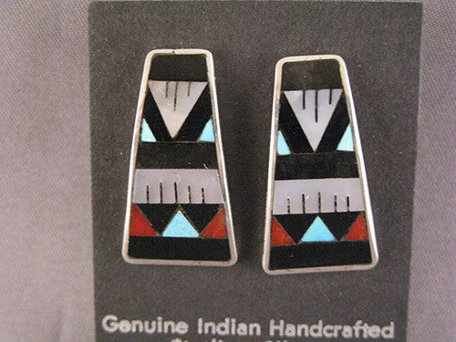 Zuni Large Multi Stone Inlaid Post Earrings