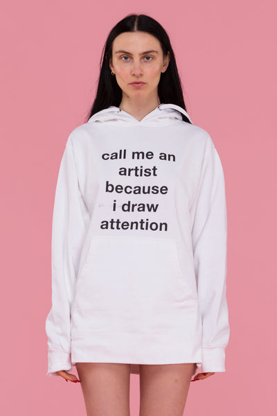 Draw Attention Hoodie (White)