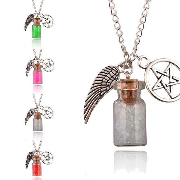 Angel Wing Pentagram Glass Bottle Supernatural Necklace 7 Colors to Choose From