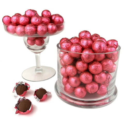 Bright Pink Foiled Wrapped Chocolate Balls 2 lb Bag