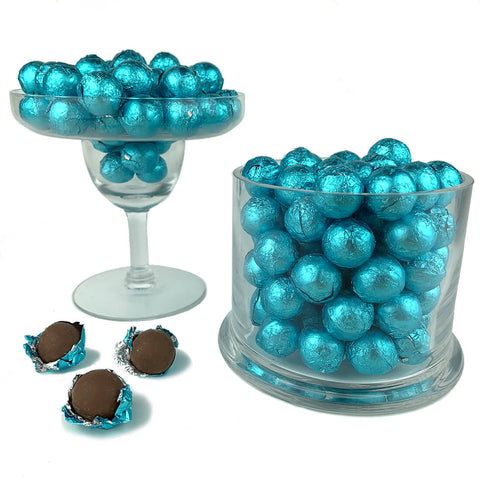 Carribean Blue Foiled Wrapped Chocolate Balls 2 lb Bag