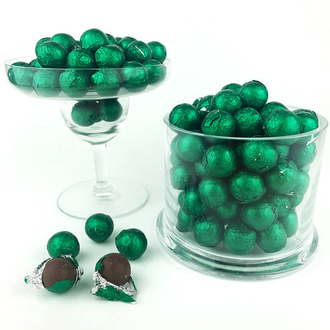 Green Foiled Wrapped Chocolate Balls 2 lb Bag
