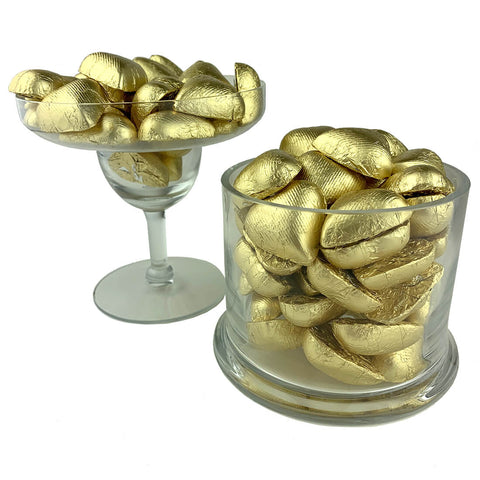 Gold Foiled Wrapped Chocolate Hearts 2lb Bag