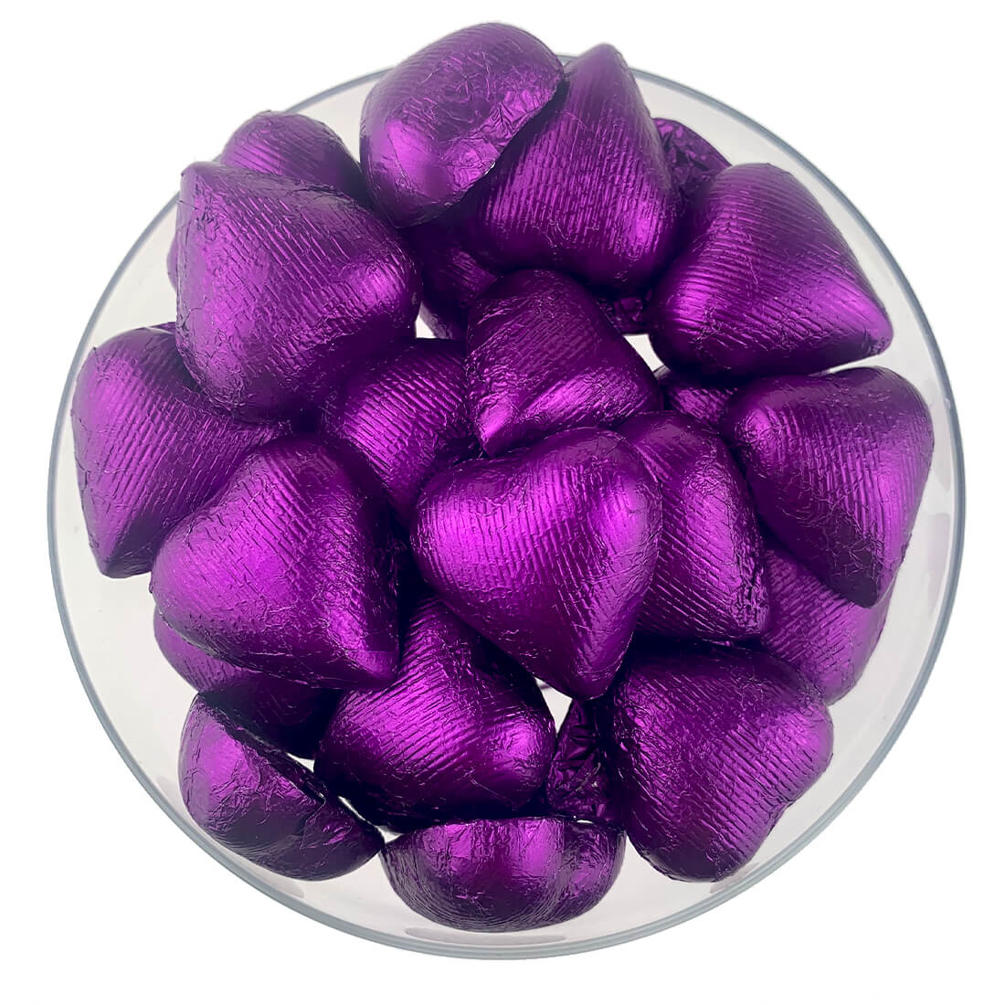 Purple Foiled Wrapped Chocolate Hearts 2lb Bag