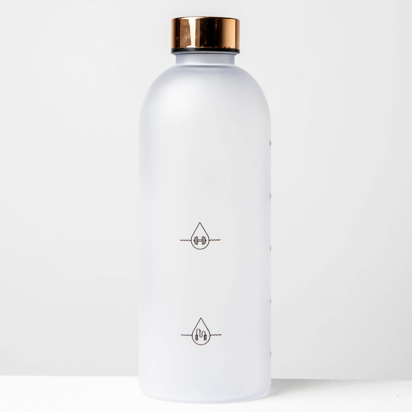 1L Reusable Plastic Water Bottle Time Tracking Gold Back Side