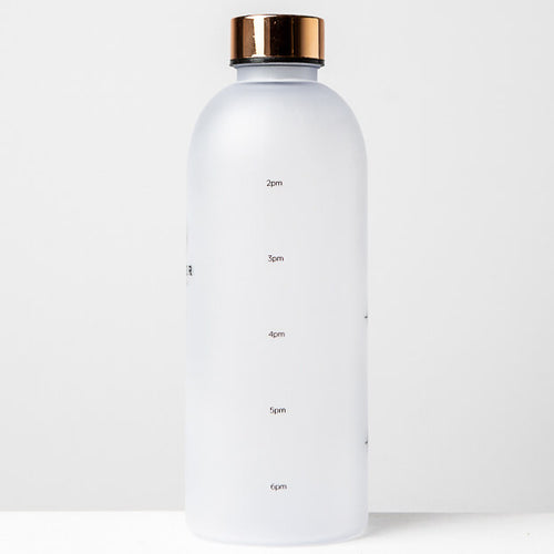 1L Reusable Plastic Water Bottle Time Tracking Gold Side
