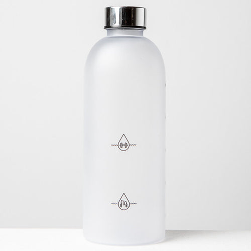 1L Reusable Plastic Water Bottle Time Tracking Silver Back Side