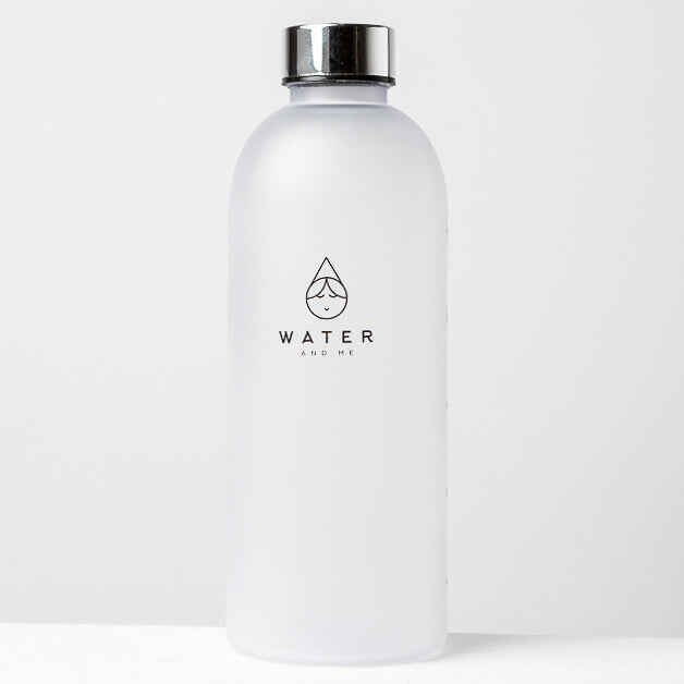 1L Reusable Plastic Water Bottle Time Tracking Silver Front