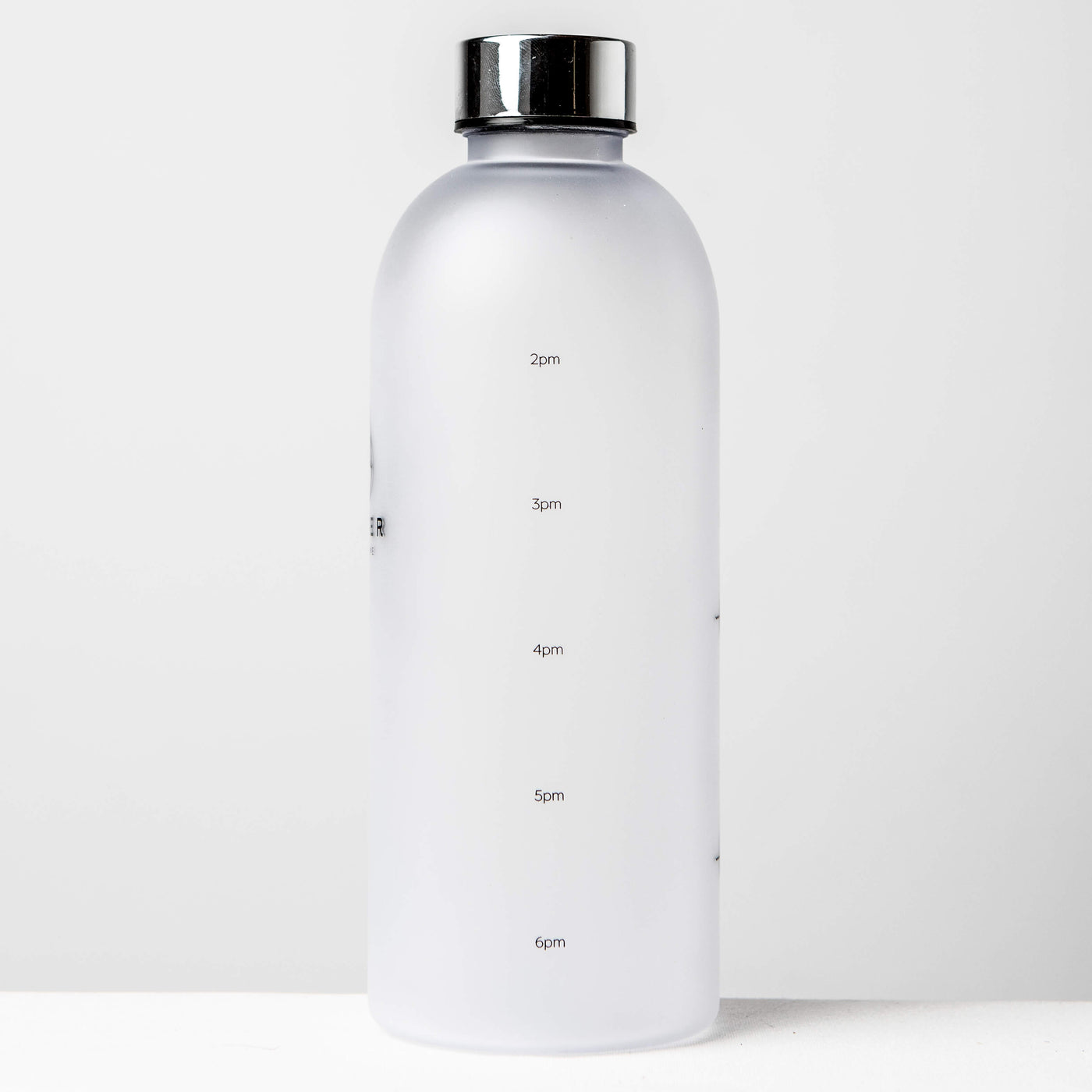 1L Reusable Plastic Water Bottle Time Tracking Silver Back