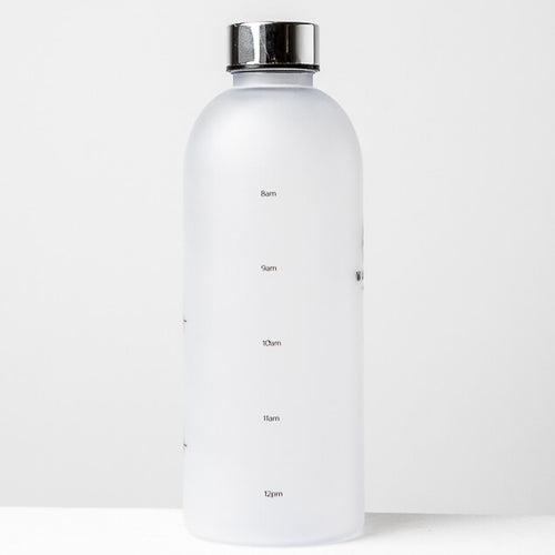 1L Reusable Plastic Water Bottle Time Tracking Silver Side