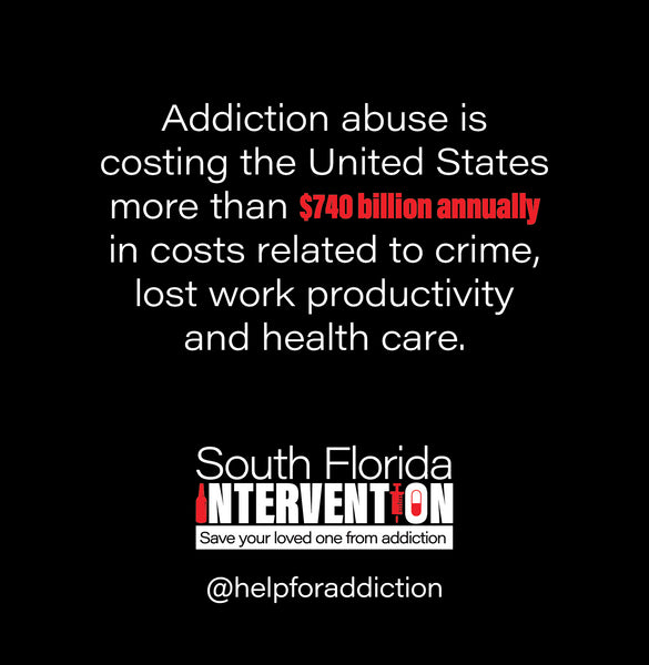 Addiction abuse is costing the US more than $740 billion annually in costs related to crime, lost work productivity and health care.