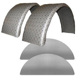 Set of 2 Single Axle 9x32 Steel Tread Plate Rolled Trailer Fenders and Backs - Fender Kit