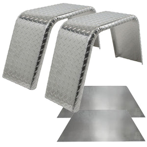 Set of 2 Single Axle 10x32 Aluminum Tread Plate Jeep Style Trailer Fenders and Backs - Fender Kit
