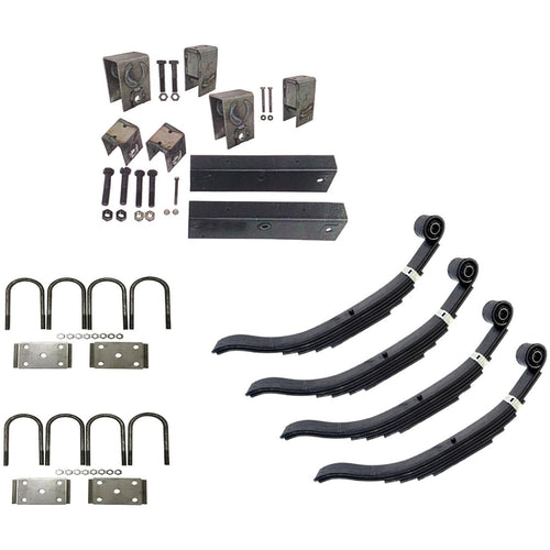 Trailer Slipper Spring Suspension and Tandem Axle Hanger Kit for 5