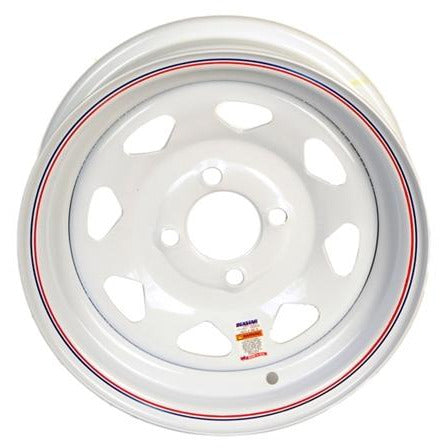 12 x 4 4 Lug White Spoke Solid Steel Trailer Wheel 4 x 4 Single