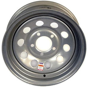 "14"" Silver Mod Trailer Wheel 5 lug on 4.5"