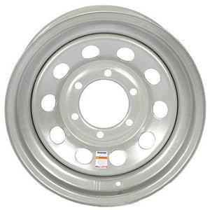 "15"" x 6"" - 6 Lug Silver Mod Solid Steel Trailer Wheel - 6 x 5.5"" Single"