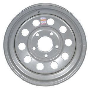 "15"" x 5"" - 5 Lug Silver Mod Solid Steel Trailer Wheel - Single"